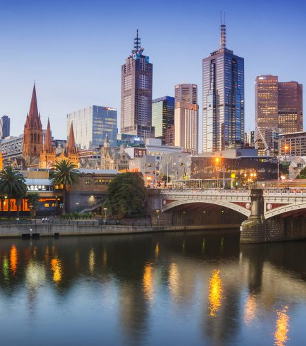 Melbourne's skyline at dusk.